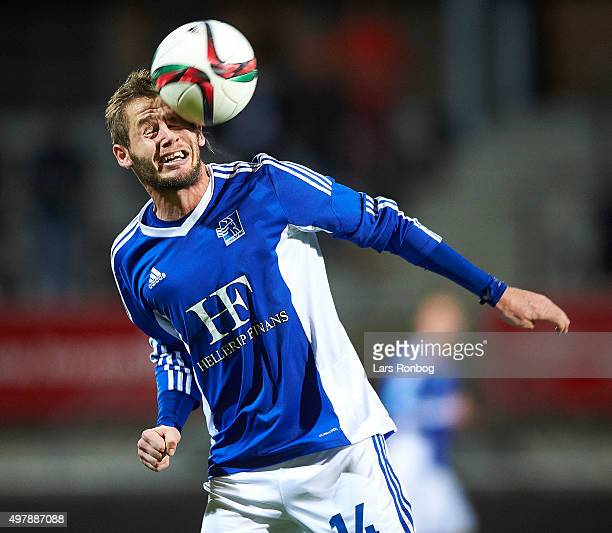 Philip Rasmussen of Lyngby Boldklub in action during the Danish 1th Division Bet25 Liga match between Lyngby Boldklub and Vejle Boldklub at Lyngby...