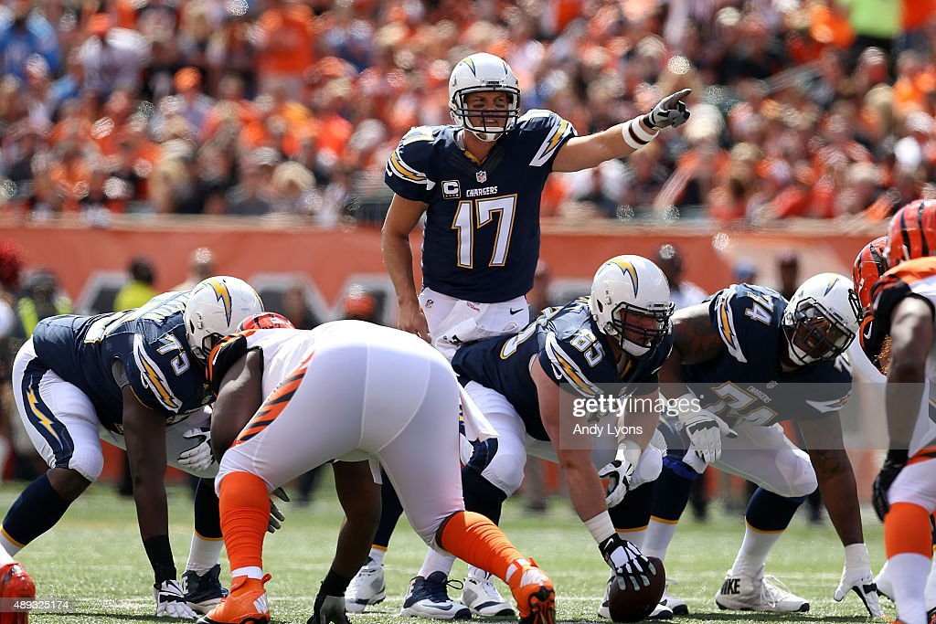 <a gi-track='captionPersonalityLinkClicked' href=/galleries/search?phrase=Philip+Rivers&family=editorial&specificpeople=212885 ng-click='$event.stopPropagation()'>Philip Rivers</a> #17 of the San Diego Chargers calls a play at the line of scrimmage during the first quarter of the game against the Cincinnati Bengals at Paul Brown Stadium on September 20, 2015 in Cincinnati, Ohio.