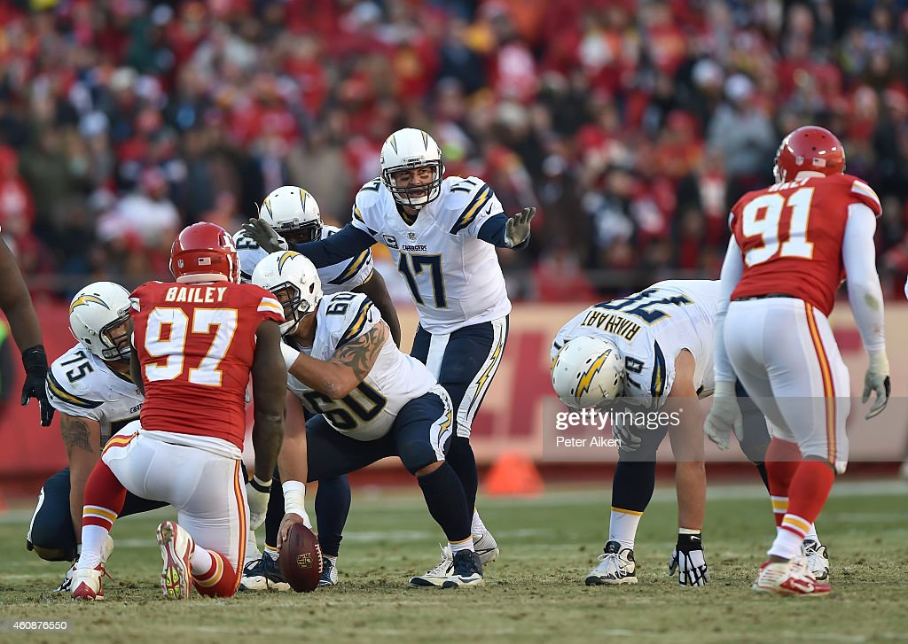 Philip Rivers #17 of the San Diego Chargers calls out a play against the Kansas City Chiefs during the game at Arrowhead Stadium on December 28, 2014 in Kansas City, Missouri.
