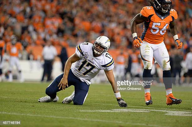 Philip Rivers of the San Diego Chargers is knocked down by Nate Irving of the Denver Broncos in the third quarter The Denver Broncos played the San...