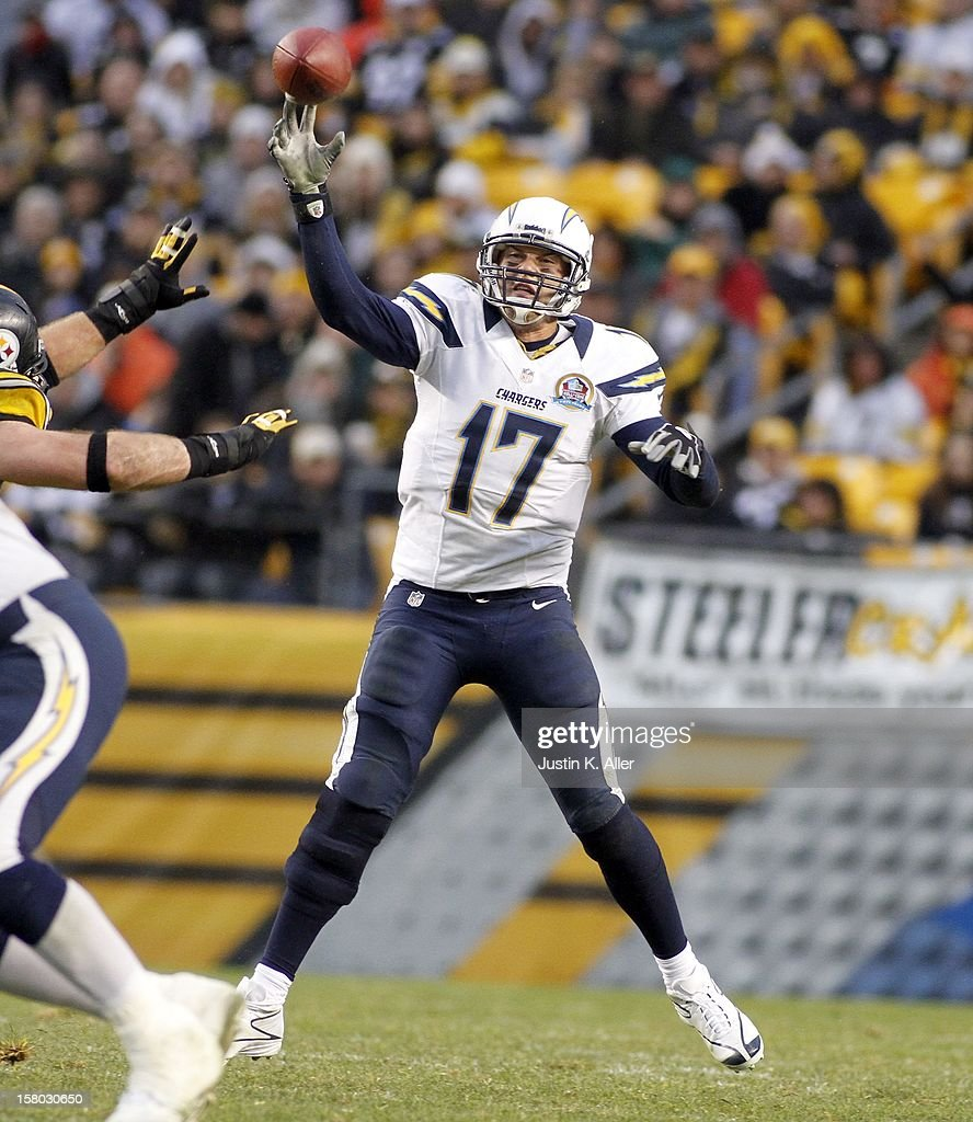Philip Rivers #17 of the San Diego Chargers rolls out to pass against the Pittsburgh Steelers during the game on December 9, 2012 at Heinz Field in Pittsburgh, Pennsylvania.
