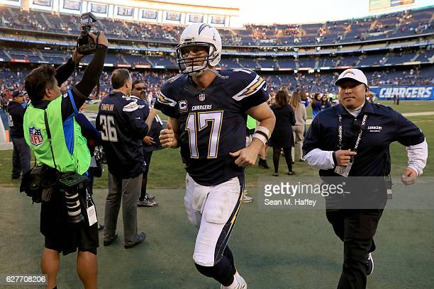 Philip Rivers of the San Diego Chargers runs off the field after being defeated by the Tampa Bay Buccaneers 2821 in a game at Qualcomm Stadium on...