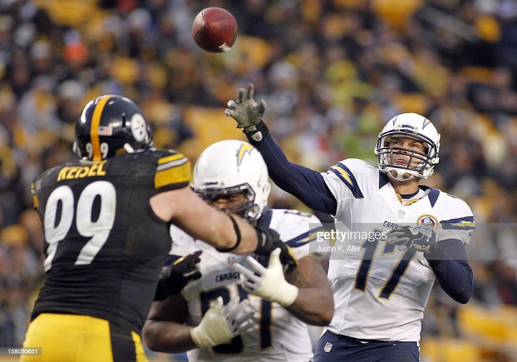 Philip Rivers #17 of the San Diego Chargers throws a 15 yard touchdown pass in the fourth quarter against the Pittsburgh Steelers during the game on December 9, 2012 at Heinz Field in Pittsburgh, Pennsylvania.