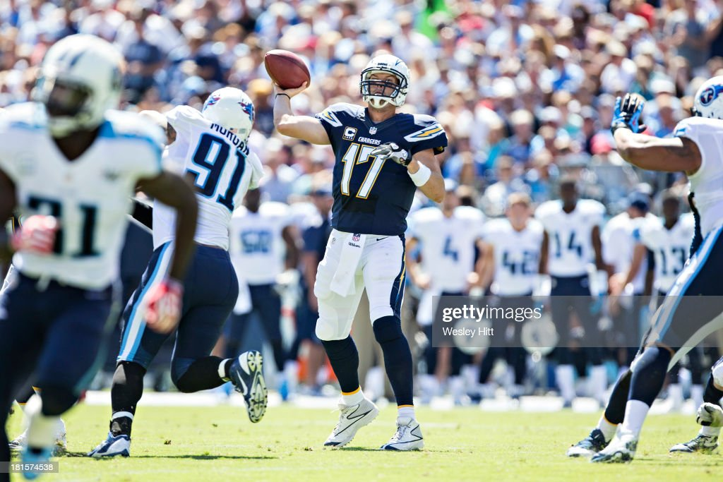 <a gi-track='captionPersonalityLinkClicked' href=/galleries/search?phrase=Philip+Rivers&family=editorial&specificpeople=212885 ng-click='$event.stopPropagation()'>Philip Rivers</a> #17 of the San Diego Chargers throws a pass against the Tennessee Titans at LP Field on September 22, 2013 in Nashville, Tennessee. The Titans defeated the Chargers 20-17.