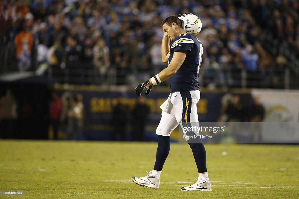 <a gi-track='captionPersonalityLinkClicked' href=/galleries/search?phrase=Philip+Rivers&family=editorial&specificpeople=212885 ng-click='$event.stopPropagation()'>Philip Rivers</a> #17 of the San Diego Chargers walks off the field while playing the Chicago Bears at Qualcomm Stadium on November 9, 2015 in San Diego, California.