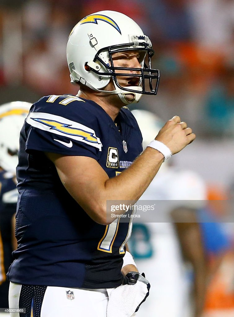 <a gi-track='captionPersonalityLinkClicked' href=/galleries/search?phrase=Philip+Rivers&family=editorial&specificpeople=212885 ng-click='$event.stopPropagation()'>Philip Rivers</a> #17 of the San Diego Chargers yells to his teammates during their game against the Miami Dolphins at Sun Life Stadium on November 17, 2013 in Miami Gardens, Florida.