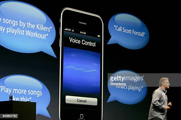 Philip Schiller senior vice president of marketing at Apple Inc talks about the new voice control function of the Apple iPhone 3G S during his...