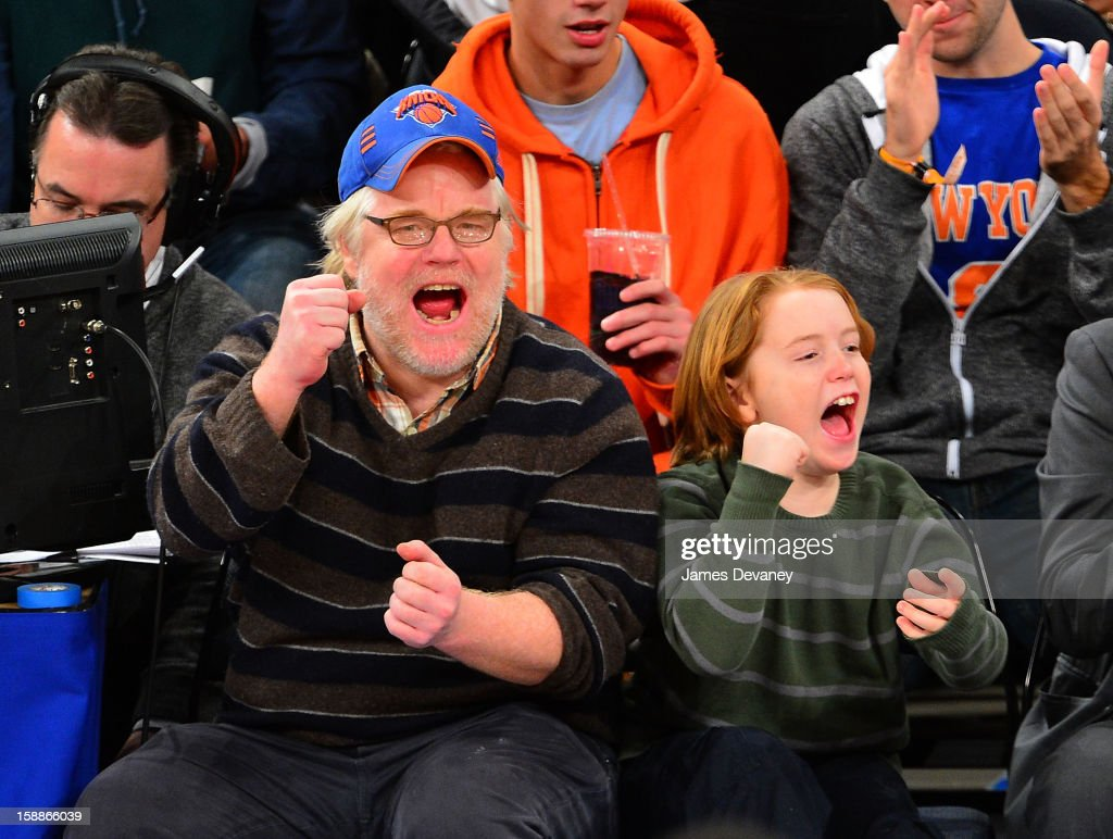 <a gi-track='captionPersonalityLinkClicked' href=/galleries/search?phrase=Philip+Seymour+Hoffman&family=editorial&specificpeople=212791 ng-click='$event.stopPropagation()'>Philip Seymour Hoffman</a> and Cooper Alexander Hoffman attend the Portland Trail Blazers vs New York Knicks game at Madison Square Garden on January 1, 2013 in New York City.