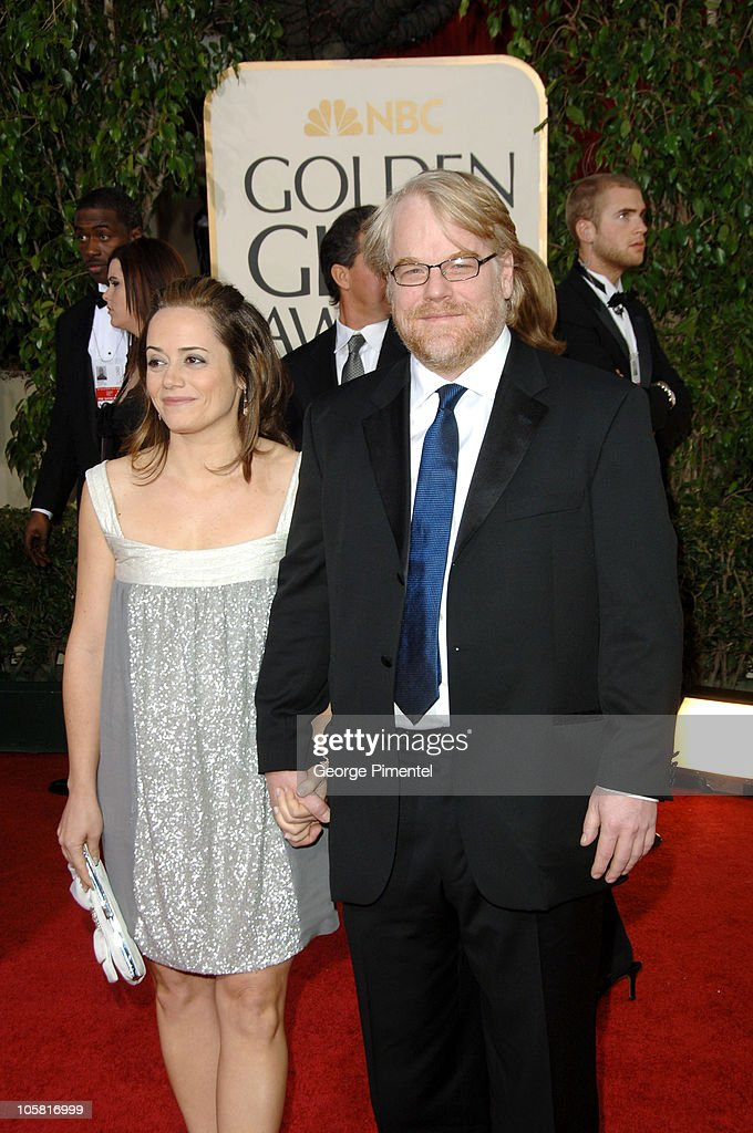 Philip Seymour Hoffman and Mimi O'Donnell during The 63rd Annual Golden Globe Awards Arrivals at Beverly Hilton Hotel in Beverly Hills California...
