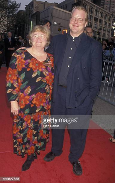 Philip Seymour Hoffman and mother Marilyn O'Connor attend the premiere party for 'Boogie Nights' on June 4 1997 at the TimeLife Building in New York...