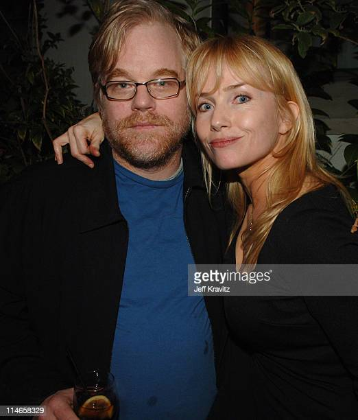 Philip Seymour Hoffman and Rebecca De Mornay during HBO's Annual PreGolden Globes Private Reception at Chateau Marmont in Los Angeles California...