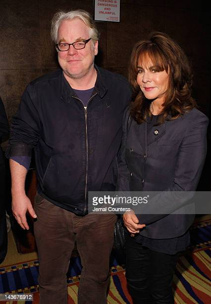 Philip Seymour Hoffman and Stockard Channing attend the 2012 Tony Awards Meet The Nominees Press Reception at Millennium Broadway Hotel on May 2 2012...