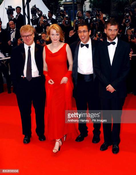 Philip Seymour Hoffman Emily Watson Adam Sandler and Director Paul Thomas Anderson arrive at the Premiere of 'PunchDrunk Love' at the Palais des...