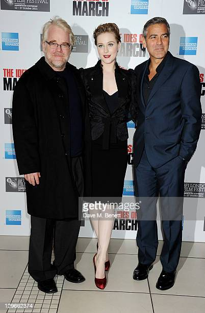 Philip Seymour Hoffman Evan Rachel Wood and George Clooney attend a Gala Screening of 'The Ides Of March' during the 55th BFI London Film Festival at...
