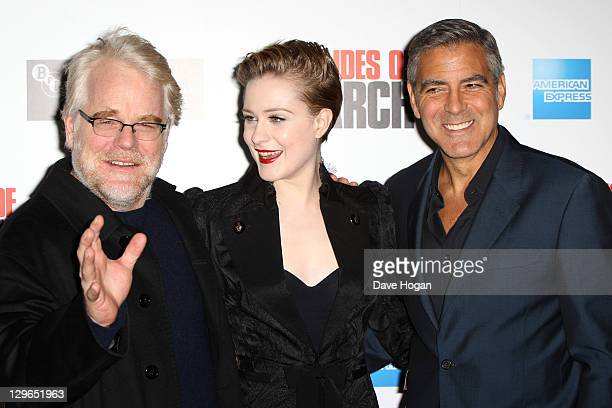 Philip Seymour Hoffman Evan Rachel Wood and George Clooney attend the gala screening for 'The Ides Of March' at The 55th BFI London Film Festival at...