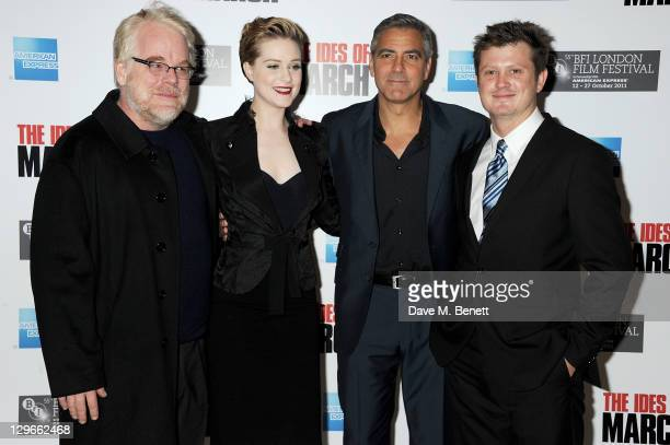 Philip Seymour Hoffman Evan Rachel Wood George Clooney and screenwriter Beau Willimon attend a Gala Screening of 'The Ides Of March' during the 55th...