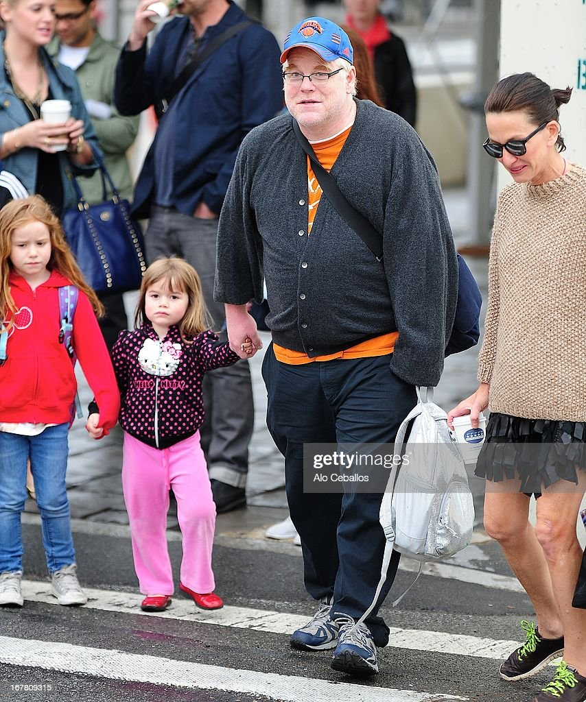 Philip Seymour Hoffman, Willa Hoffman and Tallulah Hoffman are seen in the West Village on April 30, 2013 in New York City.