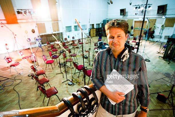 Philip Sheppard composer for the London 2012 Olympics poses for a portrait session at Abbey Road recording studios in London on 13th May 2011
