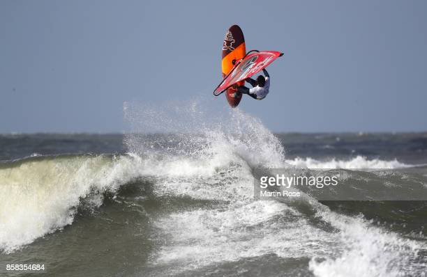 Philip Soltysiak of Canada competes in the men's free style during the MercedesBenz Windsurf World Cup Sylt on October 6 2017 in Westerland Germany
