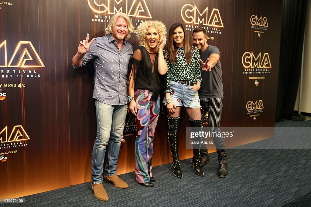 Philip Sweet Kimberly Schlapman Jimi Westbrook and Karen Fairchild of Little Big Town pose in the press room during day 4 of the 2016 CMA Music Fest...