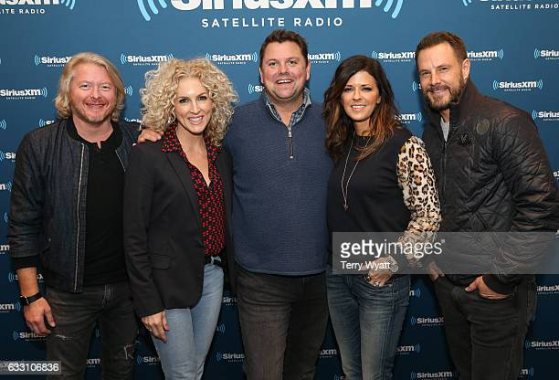 Philip SweetKimberly SchlapmanJimi Westbrook and Karen Fairchild of 'Little Big Town' and SiriusXM Host Storme Warren visit SiriusXM Studios on...
