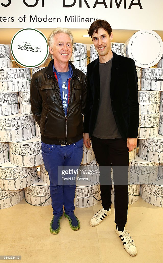 Philip Treacy and Clym Evernden attend 'Decades of Drama' at Fenwicks Bond Street on May 25, 2016 in London, England.