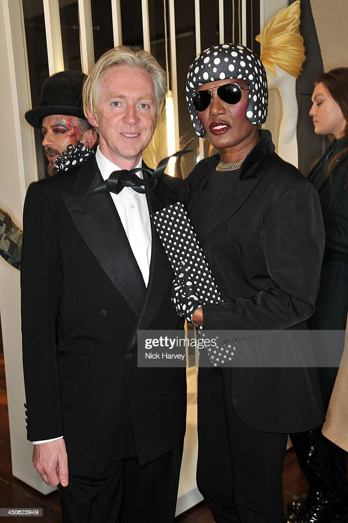 Philip Treacy and Grace Jones attend the private view of Isabella Blow: Fashion Galore! Party at Somerset House on November 19, 2013 in London, England.