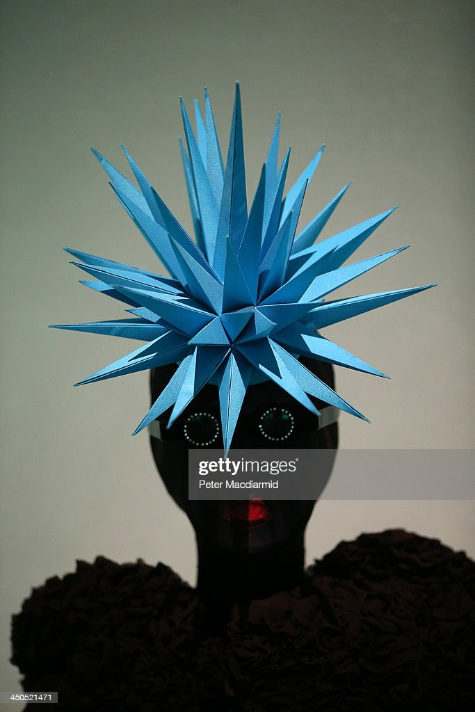 A Philip Treacy electric blue spiked hat from 1999 is displayed at the Isabella Blow: Fashion Galore! exhibition at Somerset House on November 19, 2013 in London, England. Presented in partnership with the Isabella Blow Foundation and Central Saint Martins, the show features over 100 garments from designers such as Alexander McQueen and Philip Treacy. Selected from the personal collection of the late British patron of fashion and art, the exhibition runs from November 20, 2013 to March 2, 2014.