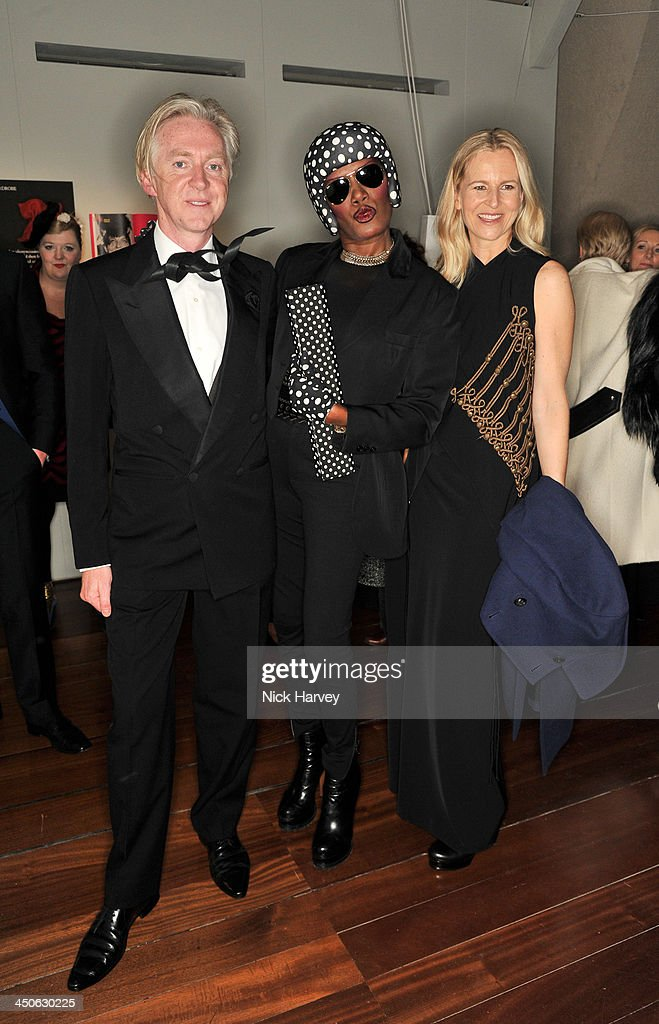 Philip Treacy, Grace Jones and Alannah Weston attend the private view of Isabella Blow: Fashion Galore! Party at Somerset House on November 19, 2013 in London, England.