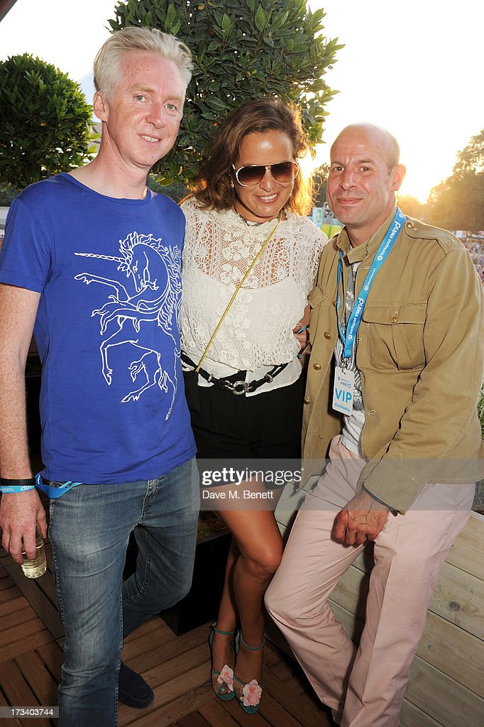 <a gi-track='captionPersonalityLinkClicked' href=/galleries/search?phrase=Philip+Treacy+-+Fashion+Designer&family=editorial&specificpeople=12819932 ng-click='$event.stopPropagation()'>Philip Treacy</a>, <a gi-track='captionPersonalityLinkClicked' href=/galleries/search?phrase=Jade+Jagger&family=editorial&specificpeople=203052 ng-click='$event.stopPropagation()'>Jade Jagger</a> and Stefan Bartlett attend the Barclaycard UNWIND VIP lounge at British Summer Time Hyde Park presented by Barclaycard on July 13, 2013 in London, England.