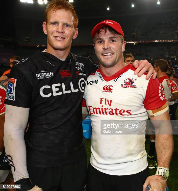 Philip van der Walt of the Cell C Sharks poses with Jaco Kriel of the Emirates Lions during the Super Rugby match between Cell C Sharks and Emirates...
