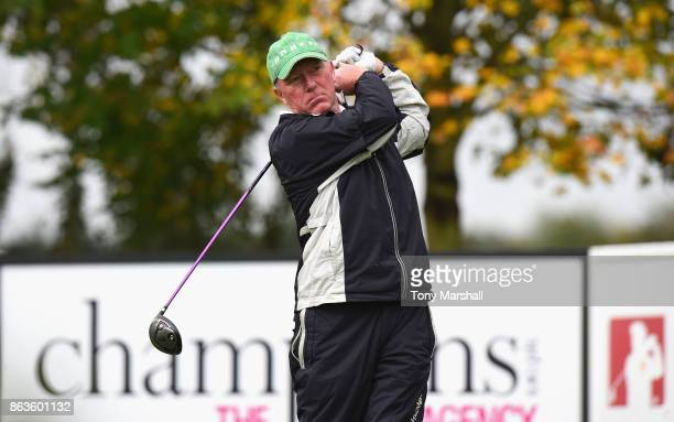 Philip Walton of Ireland plays his first shot on the 1st tee during Day One of the Farmfoods European Senior Masters at Forest Of Arden Marriott...