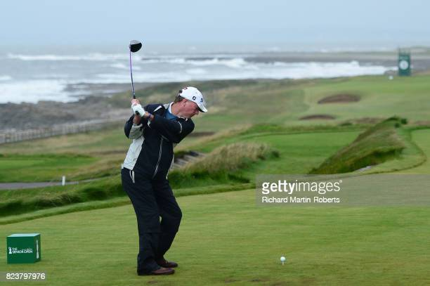 Philip Walton of Ireland tees off on the 2nd hole during the second round of the Senior Open Championship presented by Rolex at Royal Porthcawl Golf...
