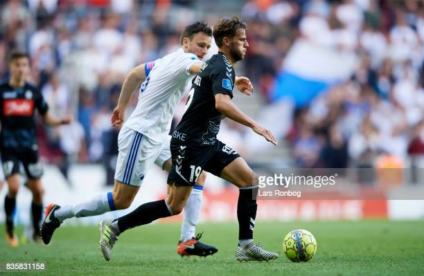 Philip Zinckernagel of Sonderjyske in action during the Danish Alka Superliga match between FC Copenhagen and Sonderjyske at Telia Parken Stadium on...