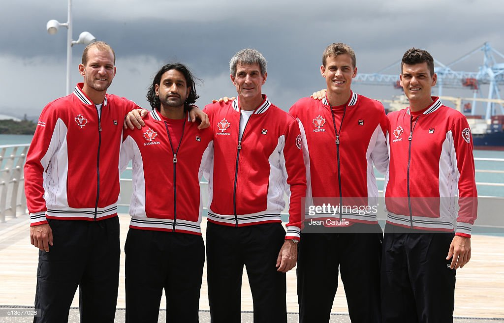 Philipe Bester Adil Shamasdin coach of Canada Martin Laurendeau Vasek Pospisil Frank Dancevic pose before the draw ceremony of the first round Davis...