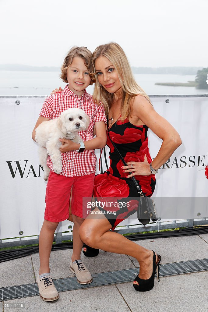 Philip-Elias Martinek and his mother german actress <a gi-track='captionPersonalityLinkClicked' href=/galleries/search?phrase=Xenia+Seeberg&family=editorial&specificpeople=2641773 ng-click='$event.stopPropagation()'>Xenia Seeberg</a> during the 'Ein Herz fuer Kinder' summer party at Wannseeterrassen on May 26, 2016 in Berlin, Germany.