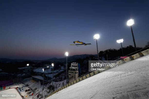 Philipp Aschenwald of Austria in action jumping during training at the 2017 FIS Ski Jumping World Cup test event for PyeongChang 2018 at Alpensia Ski...