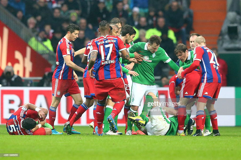 Philipp Bargfrede of Bremen reacts after a attack between Medhi Benatia of Muenchen and Sebastian Proedl of Bremen during the Bundesliga match...