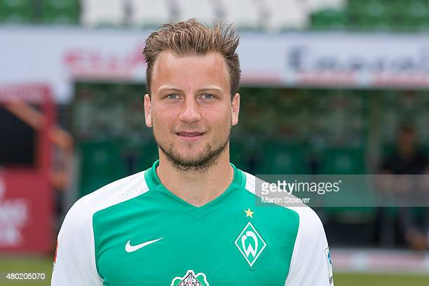 Philipp Bargfrede poses during the official team presentation of Werder Bremen at Weserstadion on July 10 2015 in Bremen Germany