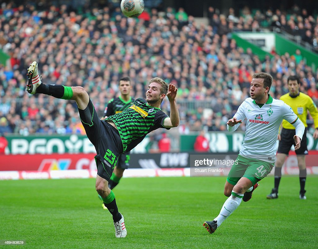 Philipp Christoph Kramer of Gladbach during the Bundesliga match between Werder Bremen and Borussia Moenchengladbach at Weserstadion on February 15, 2014 in Bremen, Germany.