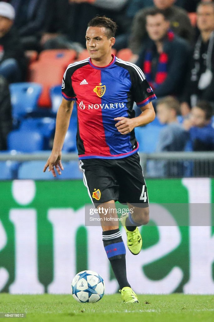 <a gi-track='captionPersonalityLinkClicked' href=/galleries/search?phrase=Philipp+Degen&family=editorial&specificpeople=534432 ng-click='$event.stopPropagation()'>Philipp Degen</a> of Basel controls the ball during the UEFA Champions League qualifying round play off first leg match between FC Basel and Maccabi Tel Aviv at St. Jakob-Park on August 19, 2015 in Basel, Switzerland.