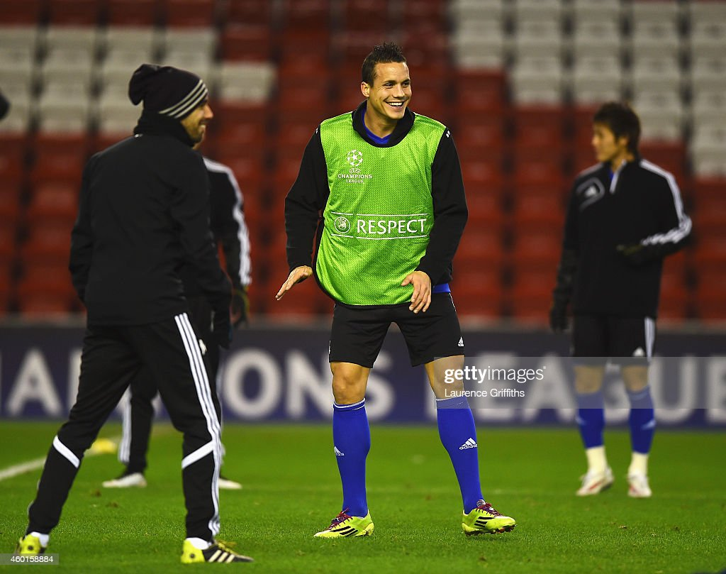 <a gi-track='captionPersonalityLinkClicked' href=/galleries/search?phrase=Philipp+Degen&family=editorial&specificpeople=534432 ng-click='$event.stopPropagation()'>Philipp Degen</a> of Basel smiles during a training session ahead of the UEFA Champions League match against Liverpool at Anfield on December 8, 2014 in Liverpool, England.