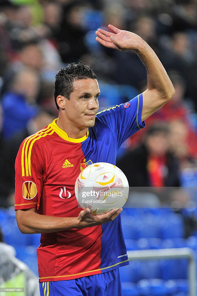 <a gi-track='captionPersonalityLinkClicked' href=/galleries/search?phrase=Philipp+Degen&family=editorial&specificpeople=534432 ng-click='$event.stopPropagation()'>Philipp Degen</a> of FC Basel 1893 in action during the UEFA Europa League group stage match between FC Basel 1893 and KRC Genk held on October 4, 2012 at the St. Jakob-Park in Basel, Switzerland.