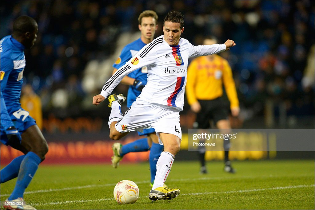 <a gi-track='captionPersonalityLinkClicked' href=/galleries/search?phrase=Philipp+Degen&family=editorial&specificpeople=534432 ng-click='$event.stopPropagation()'>Philipp Degen</a> of FC Basel 1893 shoots towards the goal during the UEFA Europa League group G match between KRC Genk and FC Basel 1893 at the Cristal Arena stadium on December 06, 2012 in Genk, Belgium.