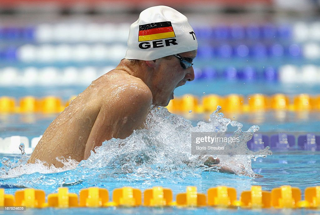 Philipp Forster of SC Wiesbaden 1911 competes in the men's 200 m individual medley heat during day one of the German Swimming Championship 2013 at the Eurosportpark on April 26, 2013 in Berlin, Germany.
