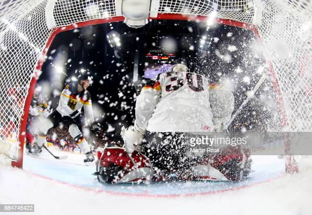Philipp Grubauer goaltender of Germany makes a save during the 2017 IIHF Ice Hockey World Championship quarter final game between Canada and Germany...