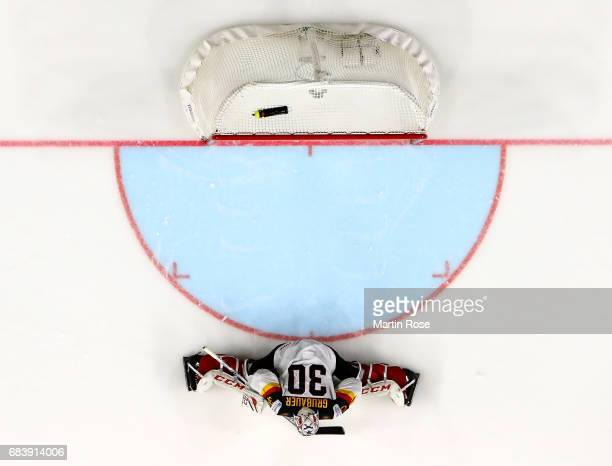 Philipp Grubauer goaltender of Germany tends net against Latvia during the 2017 IIHF Ice Hockey World Championship game between Germany and Latvia at...