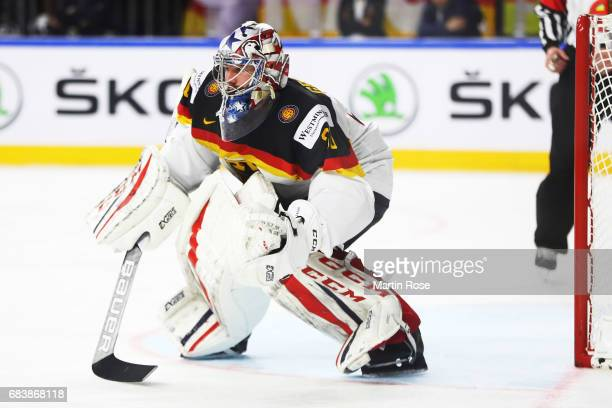 Philipp Grubauer of Germany in action during the Germany v Latvia match of the 2017 IIHF Ice Hockey World Championships at Lanxess Arena on May 16...