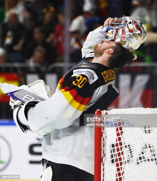 Philipp Grubauer of Germany is dejected during the 2017 IIHF Ice Hockey World Championship Quarter Final game between Canada and Germany at Lanxess...