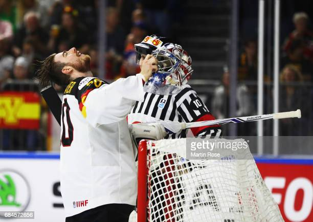 Philipp Grubauer of Germany is happy after making a good save during the 2017 IIHF Ice Hockey World Championship Quarter Final game between Canada...
